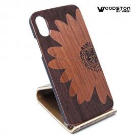 Чехол деревянный Big Flower для iPhone Х