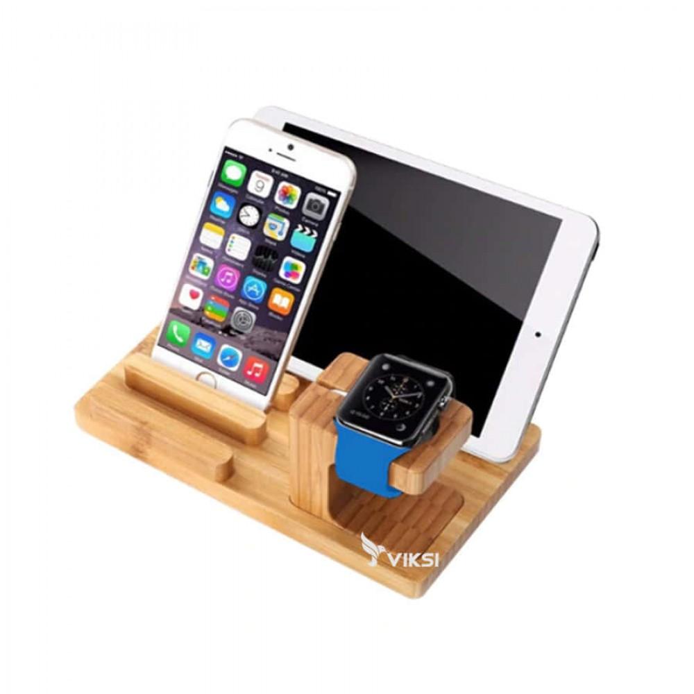 Подставка-держатель из дерева для Apple Watch и iPhone (органайзер)