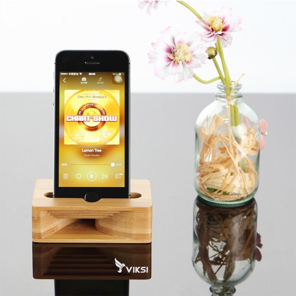 Подставка держатель для телефона Echo из бамбука, усилитель звука
