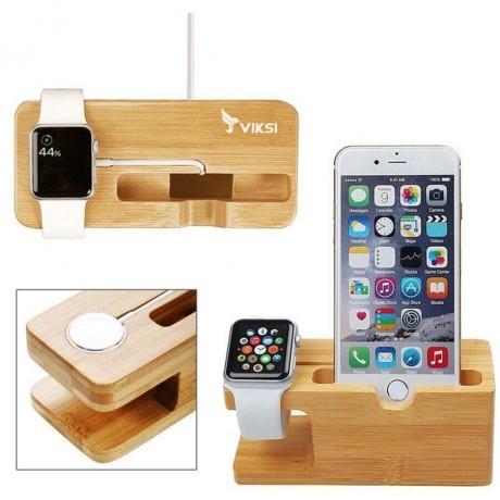 Подставка-органайзер Eco из дерева для Apple Watch и iPhone