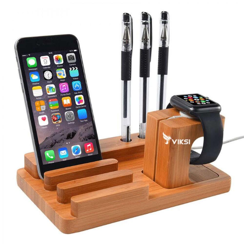 Деревянная подставка-держатель для Apple Watch и iPhone (органайзер)