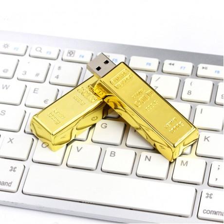 Флешка металлическая Gold